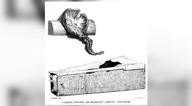 Ilustrasi yang menggambarkan penemuan rambut kepang di dalam peti di majalah Gentleman pada 1840 (BBC)